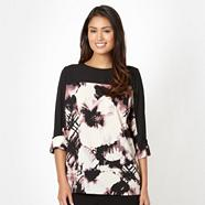 Designer black carina flower crepe top