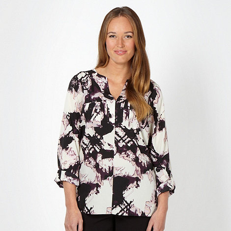 Betty Jackson.Black - Designer dark purple abstract floral crepe top