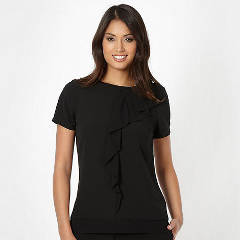 Betty Jackson.Black - Designer black ruffle blouse