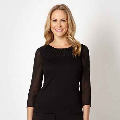 Betty Jackson.Black - Designer black ruched chiffon top