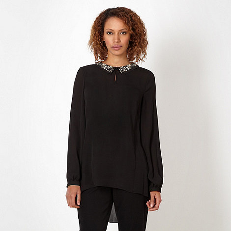 Betty Jackson.Black - Designer black embellished collar chiffon top