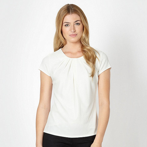Betty Jackson.Black - Designer white textured front shell top