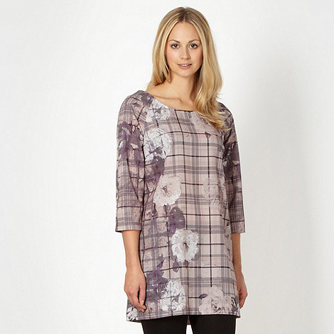 Betty Jackson.Black - Designer light pink floral check tunic