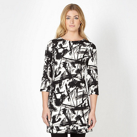 Betty Jackson.Black - Designer black abstract print tunic top