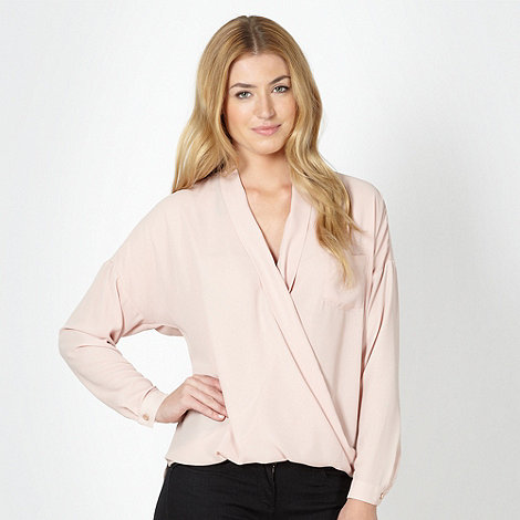 Betty Jackson.Black - Designer light pink wrap front shirt