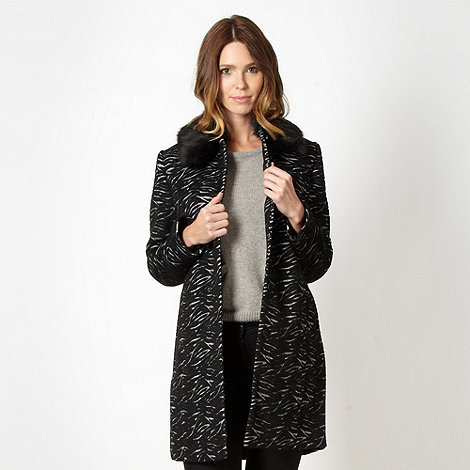 Betty Jackson.Black - Designer black zebra wave coat