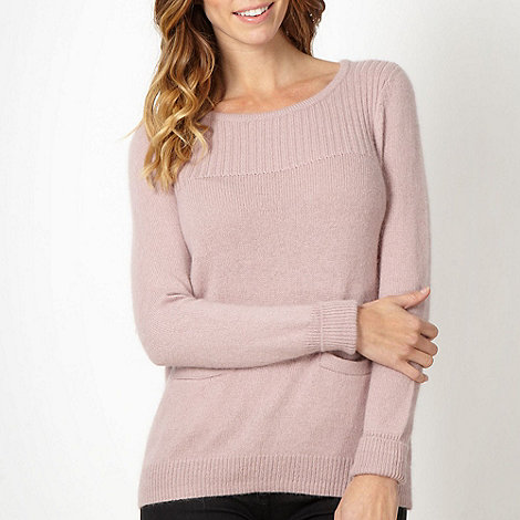 Betty Jackson.Black - Designer pink ribbed neck jumper