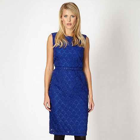 Betty Jackson.Black - Designer bright blue embroidered dress