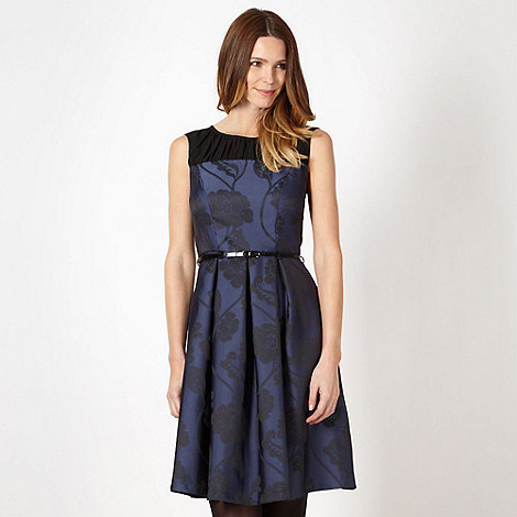 Betty Jackson.Black - Designer navy jacquard floral dress