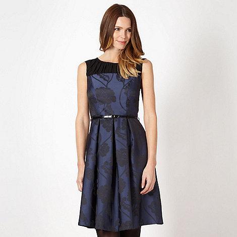 Betty Jackson.Black - Designer navy jacquard floral dress