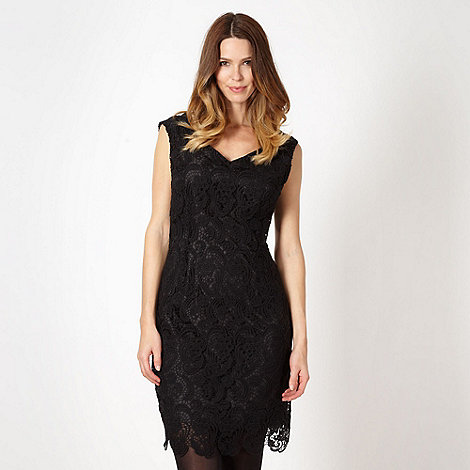 Betty Jackson.Black - Designer black crochet lace shift dress
