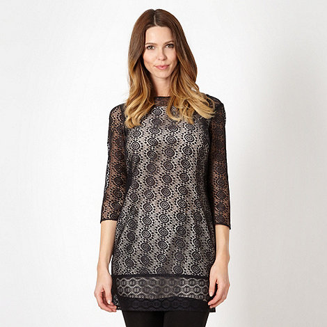 Betty Jackson.Black - Designer black mosaic lace tunic