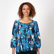 Designer blue pansy bubble hem top