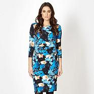 Designer blue pansy print dress