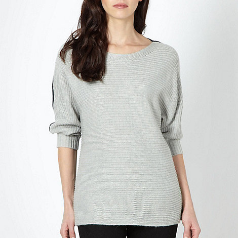 Betty Jackson.Black - Designer grey two tone ribbed knit jumper