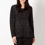 Designer black jacquard animal print jumper