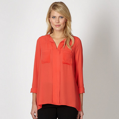 Betty Jackson.Black - Designer orange oversized crepe shirt