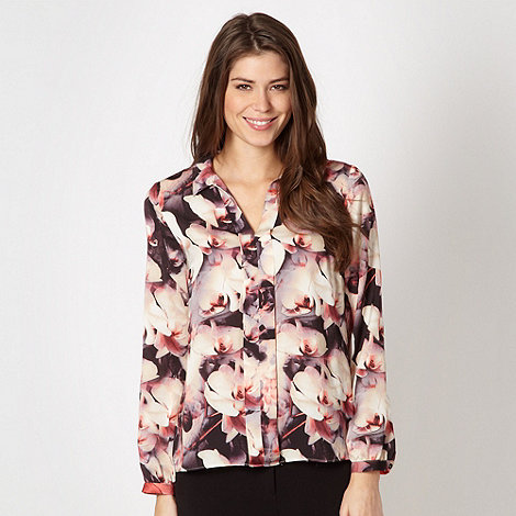 Betty Jackson.Black - Designer cream floral chiffon blouse