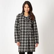 Designer black oversize dogtooth coat