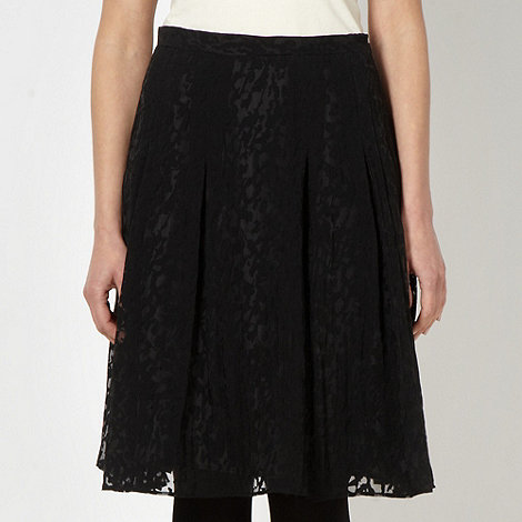 Betty Jackson.Black - Designer black pleated burnout skirt