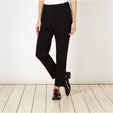 Betty Jackson.Black - Designer black crepe pleated front trousers