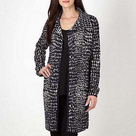 Betty Jackson.Black - Designer navy textured animal cardigan