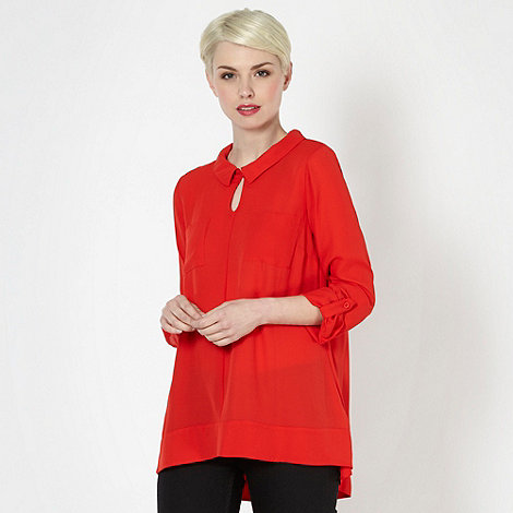 Betty Jackson.Black - Designer red chiffon long sleeved blouse