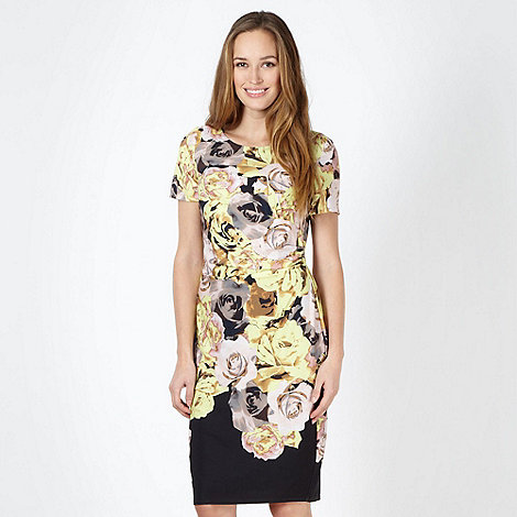 Betty Jackson.Black - Designer yellow rose ruched dress