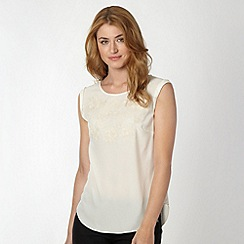 Betty Jackson.Black - Designer ivory embroidered shell top
