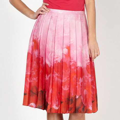 Betty Jackson.Black - Designer pink pleated border skirt