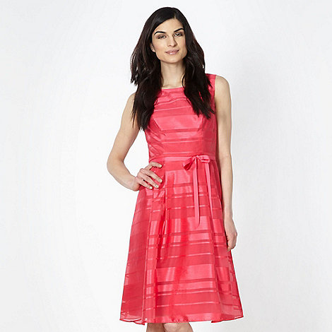 Betty Jackson.Black - Designer pink burnout striped fit and flare dress