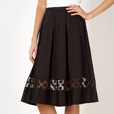 Betty Jackson.Black - Designer black burnout pleated hem skirt