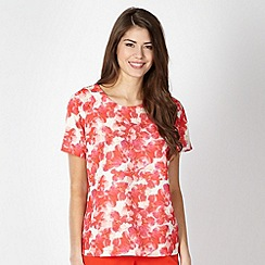 Betty Jackson.Black - Designer red cherry blossom floral top