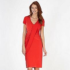 Betty Jackson.Black - Designer red drape front jersey dress