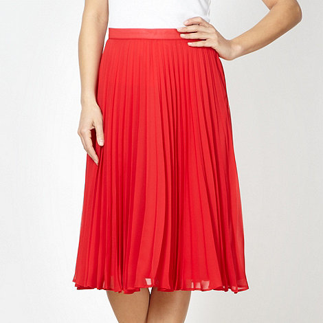 Betty Jackson.Black - Designer bright red pleated skirt