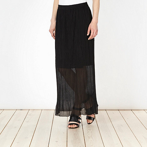 Betty Jackson.Black - Designer black crinkled maxi skirt