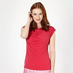 Betty Jackson.Black - Designer dark pink drape front top
