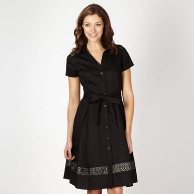 Designer black lace insert shirt dress