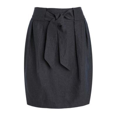 Betty Jackson.Black Blue linen belted tulip skirt product image