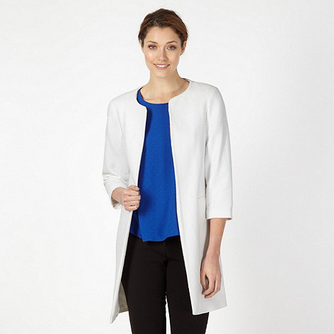 Betty Jackson.Black - Designer ivory textured collarless coat