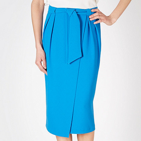 Betty Jackson.Black - Designer bright blue wrap crepe skirt