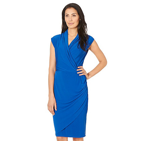 Betty Jackson.Black - Designer bright blue plain wrap dress