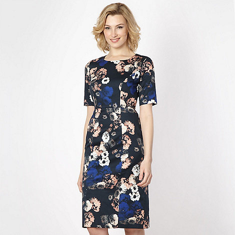 Betty Jackson.Black - Designer navy scatter floral print shift dress