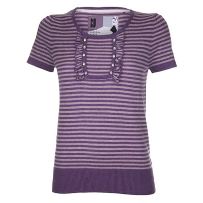 Purple stripe ruffle detail top