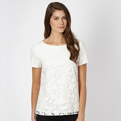 Betty Jackson.Black - Designer ivory burnout top