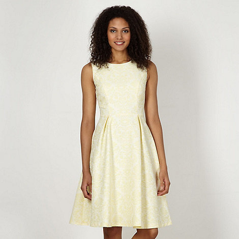 Betty Jackson.Black - Designer pale yellow jacquard dress