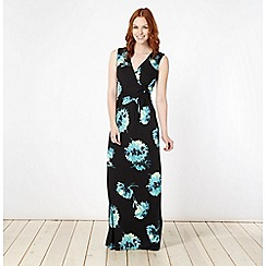 Betty Jackson.Black - Designer black painted floral jersey maxi dress