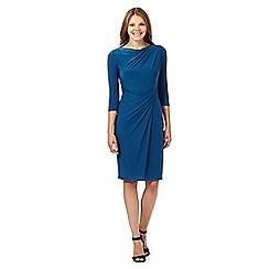 Betty Jackson.Black - Designer bright turquoise cowl neck jersey dress