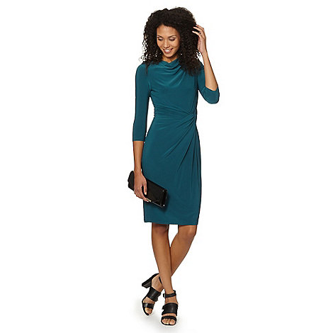 Betty Jackson.Black - Designer dark turquoise cowl neck jersey dress