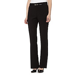 Betty Jackson.Black - Designer black wide leg belted trousers